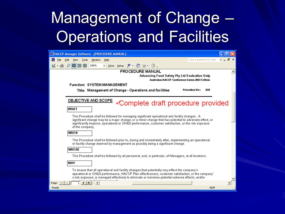 Management of Change – Operations and Facilities