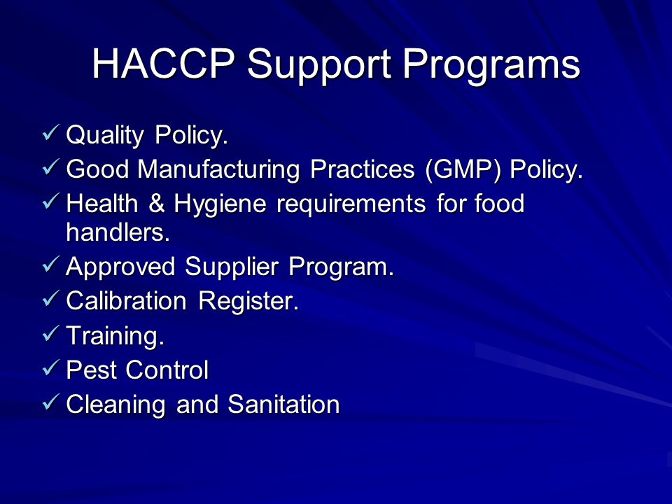 HACCP Support Programs