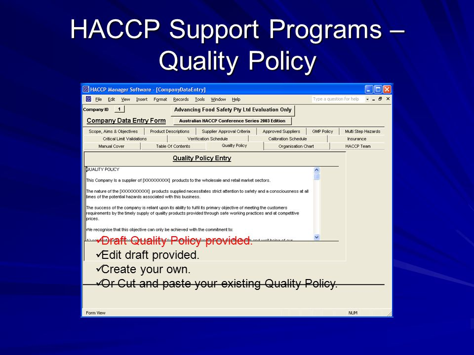 HACCP Support Programs – Quality Policy