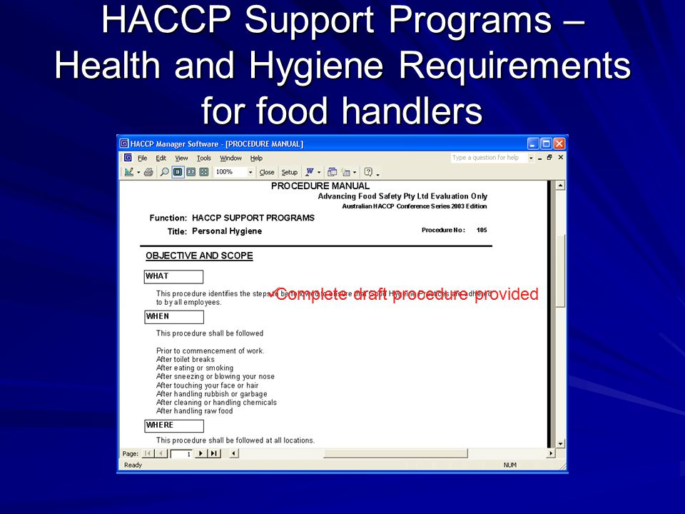 HACCP Support Programs – Health and Hygiene Requirements for food handlers