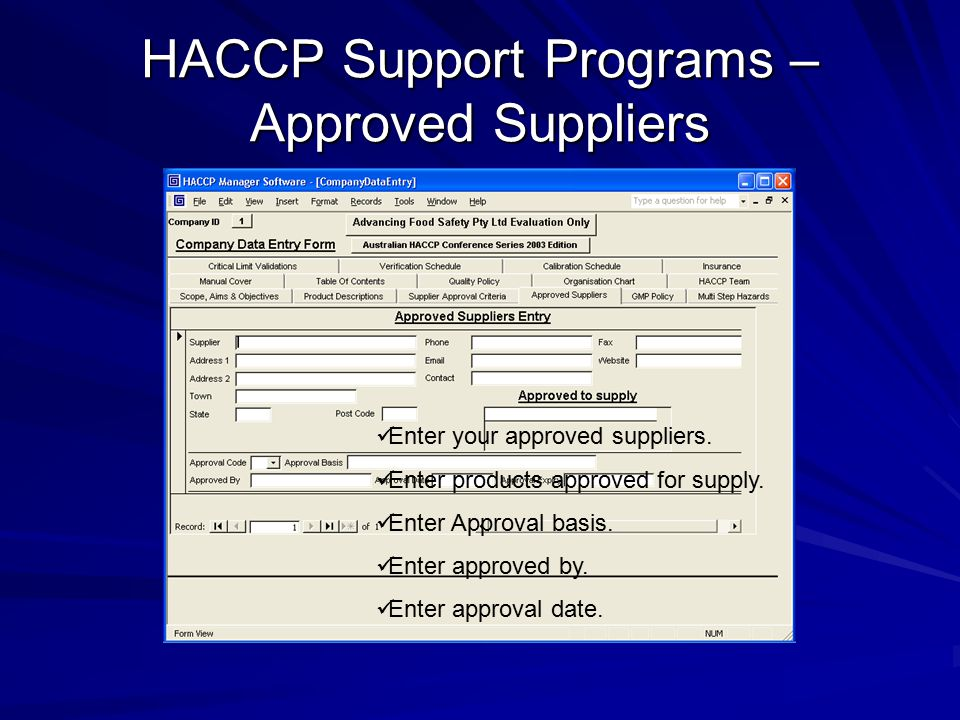 HACCP Support Programs – Approved Suppliers