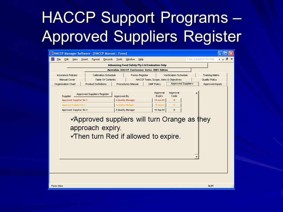 HACCP Support Programs – Approved Suppliers Register