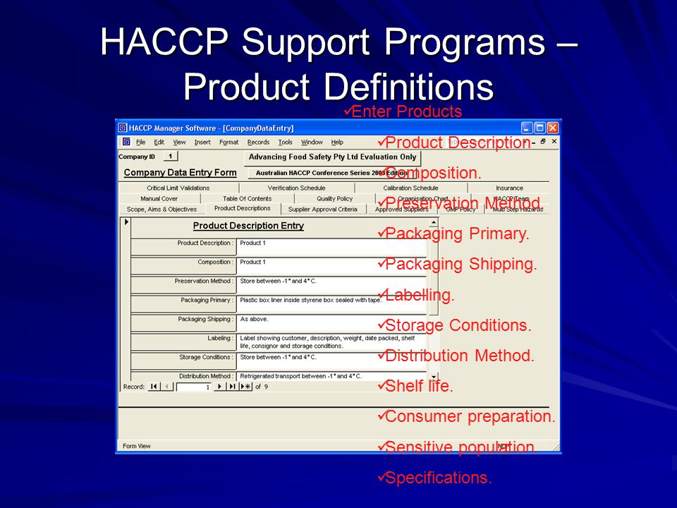 HACCP Support Programs – Product Definitions