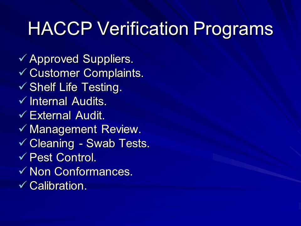 HACCP Verification Programs