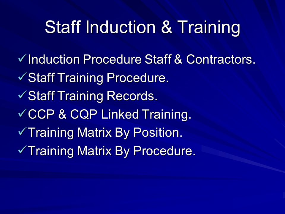 Staff Induction & Training