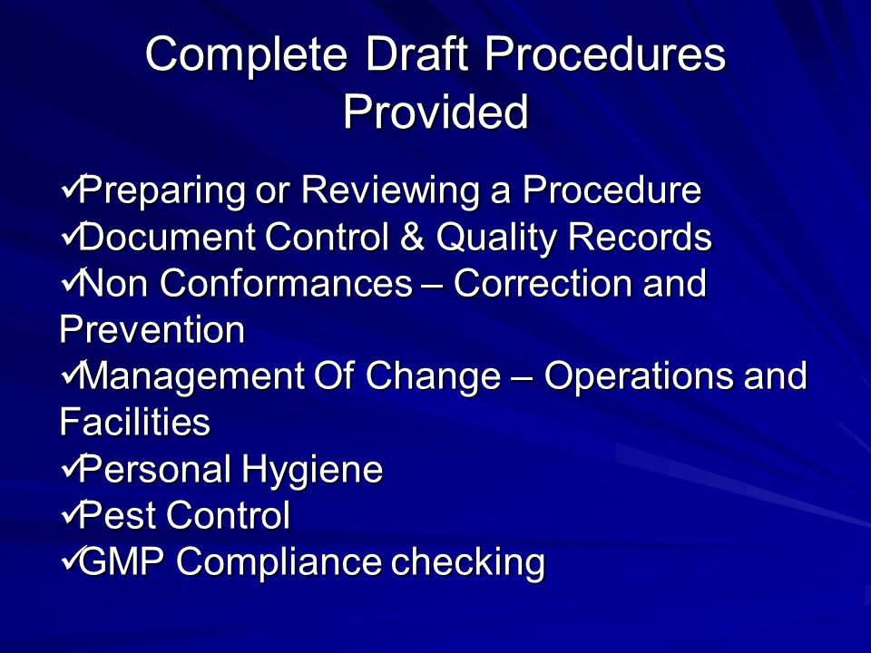 Complete Draft Procedures Provided