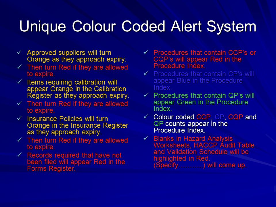 Unique Colour Coded Alert System