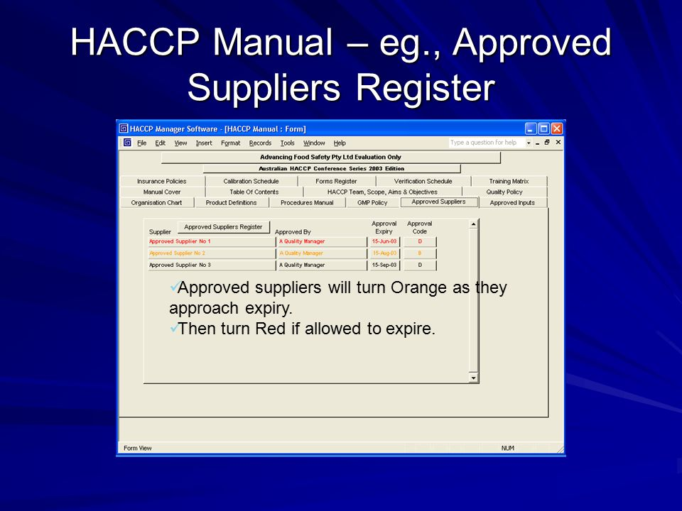HACCP Manual – eg., Approved Suppliers Register