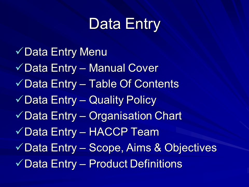Data Entry Data Entry Menu Data Entry – Manual Cover