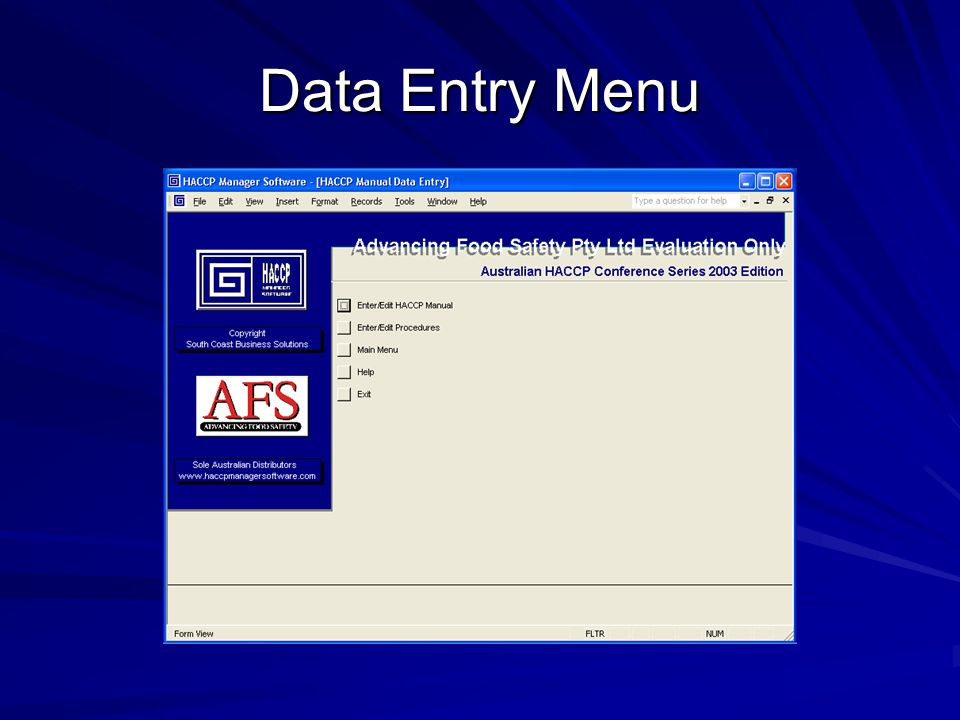 Data Entry Menu