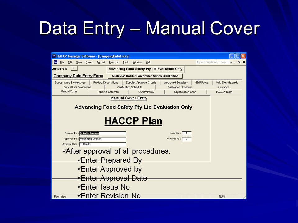 Data Entry – Manual Cover