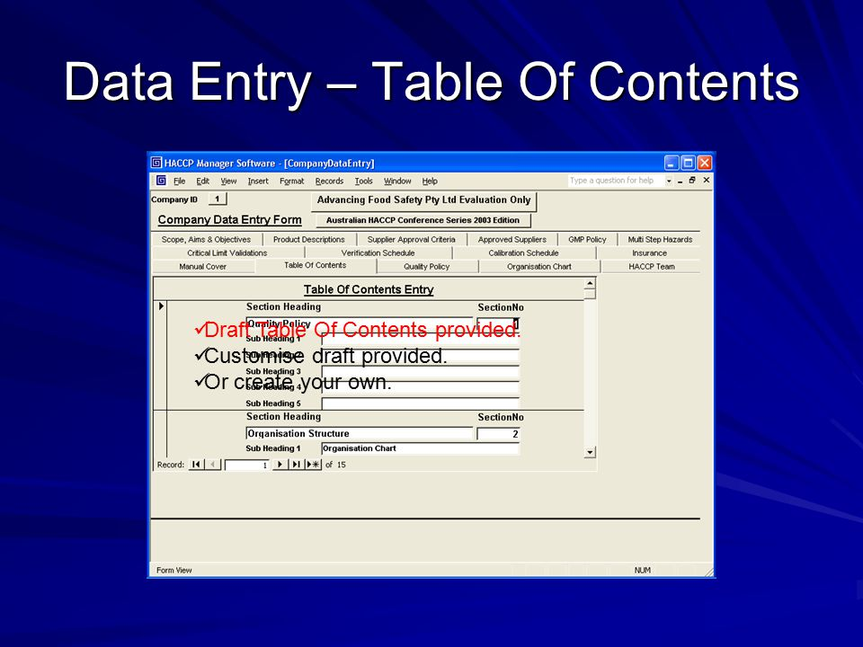 Data Entry – Table Of Contents