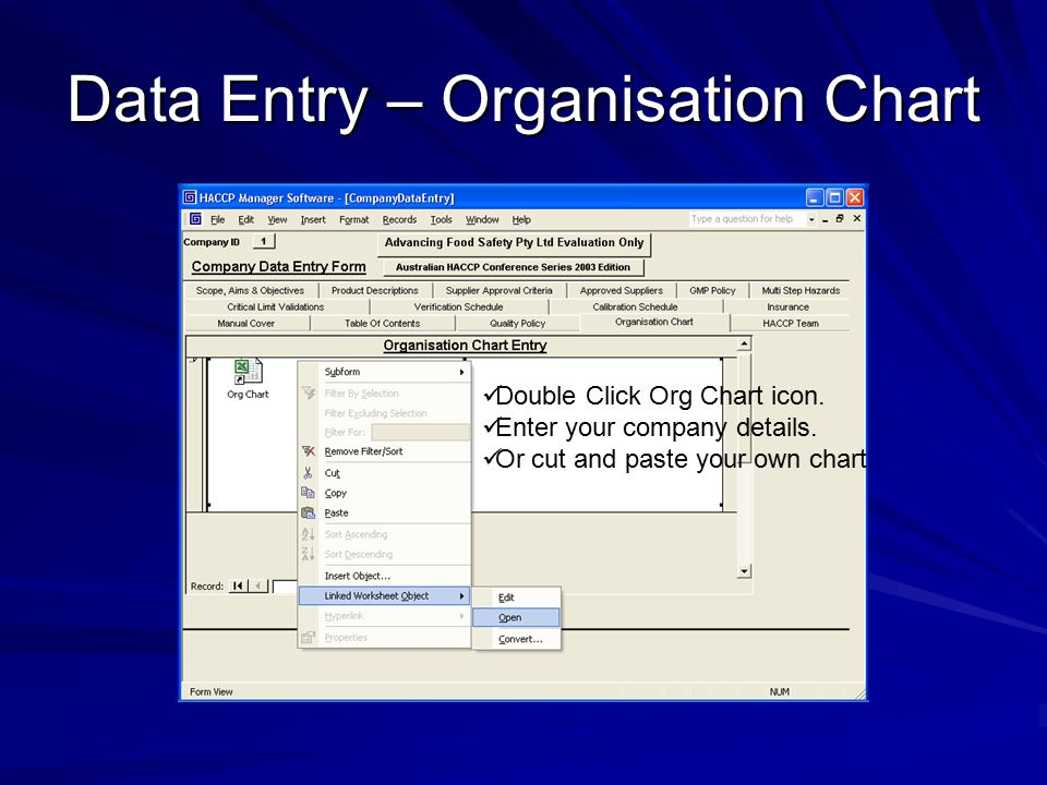 Data Entry – Organisation Chart