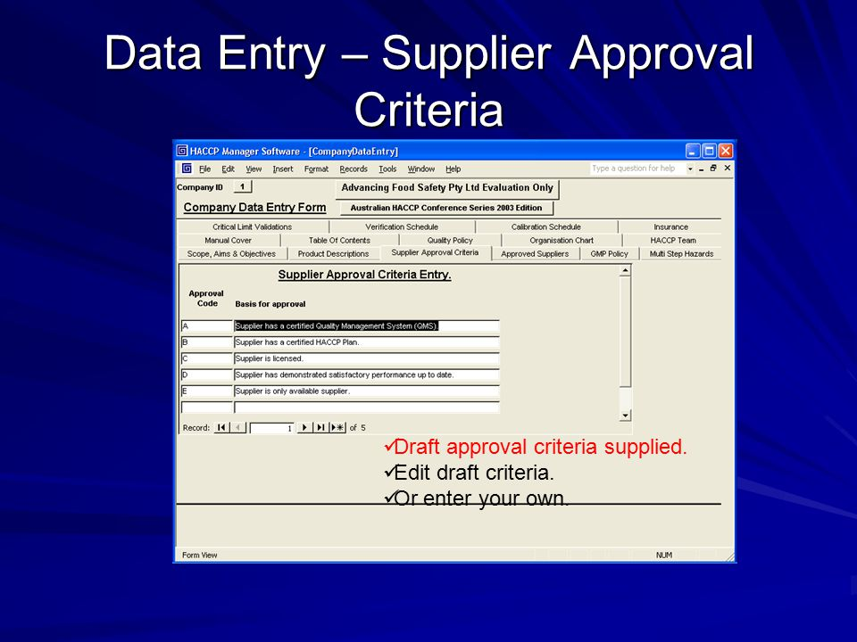 Data Entry – Supplier Approval Criteria