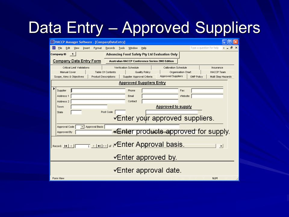 Data Entry – Approved Suppliers