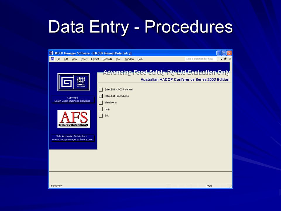 Data Entry - Procedures