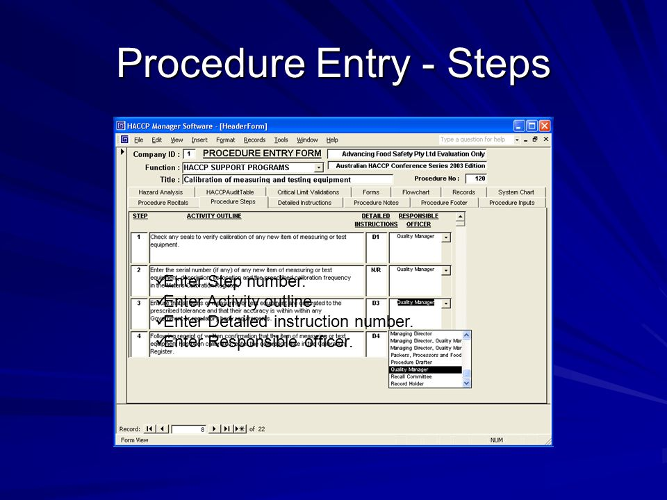 Procedure Entry - Steps