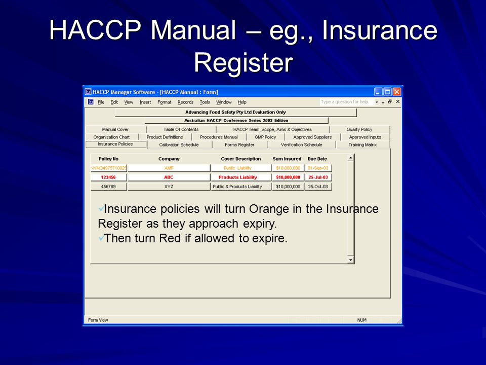 HACCP Manual – eg., Insurance Register