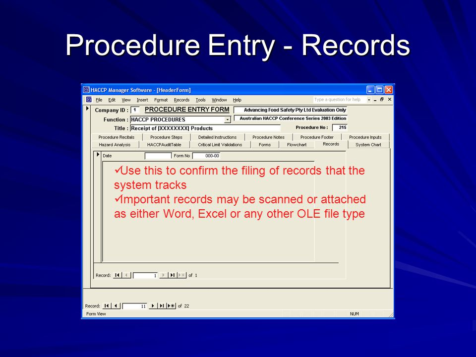 Procedure Entry - Records