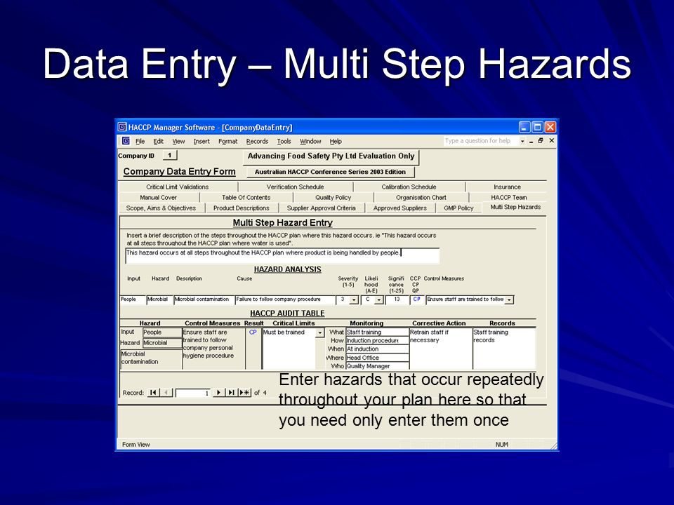 Data Entry – Multi Step Hazards