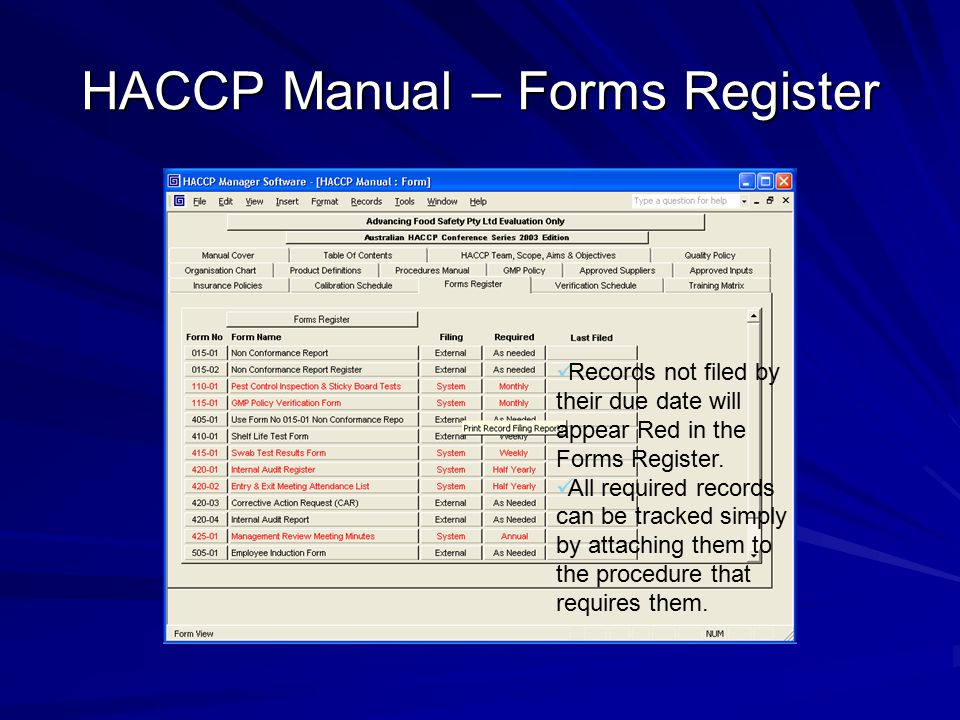 HACCP Manual – Forms Register