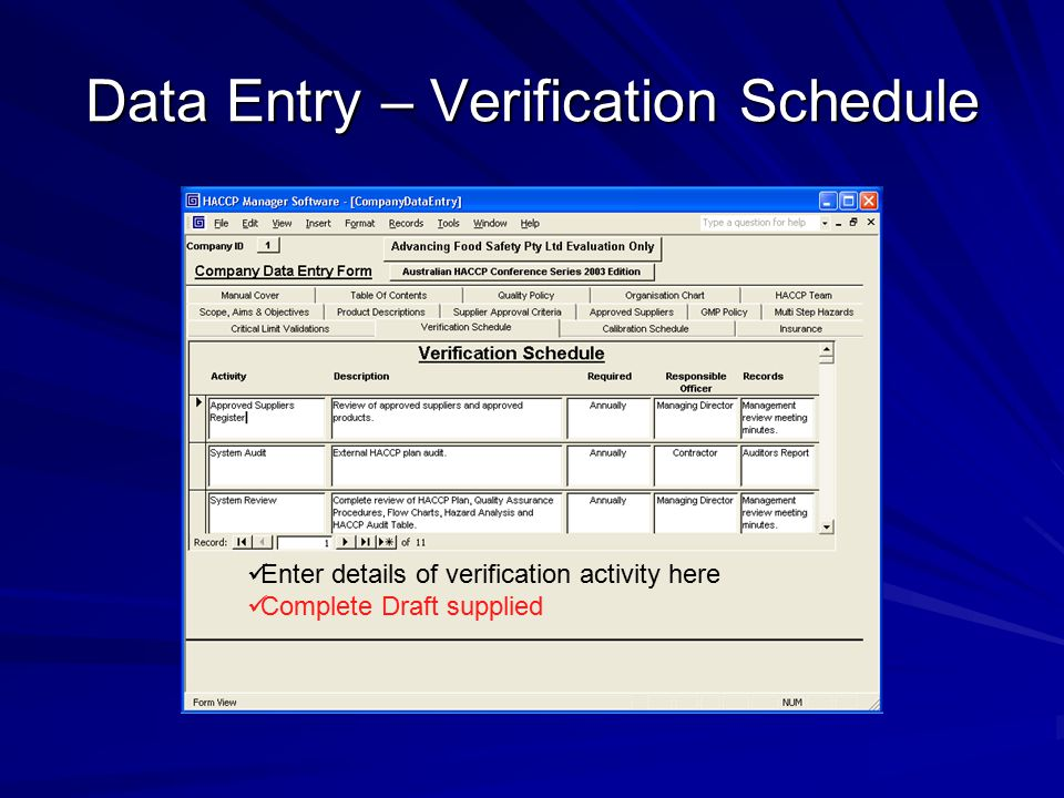 Data Entry – Verification Schedule