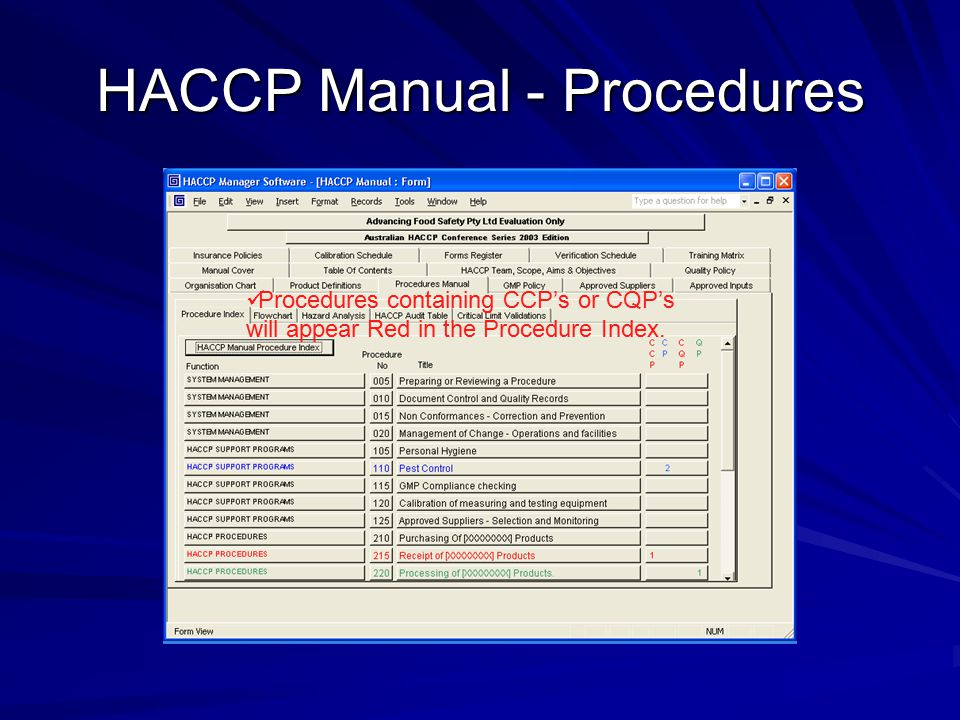 HACCP Manual - Procedures