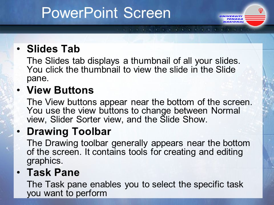 PowerPoint Screen Slides Tab View Buttons Drawing Toolbar Task Pane