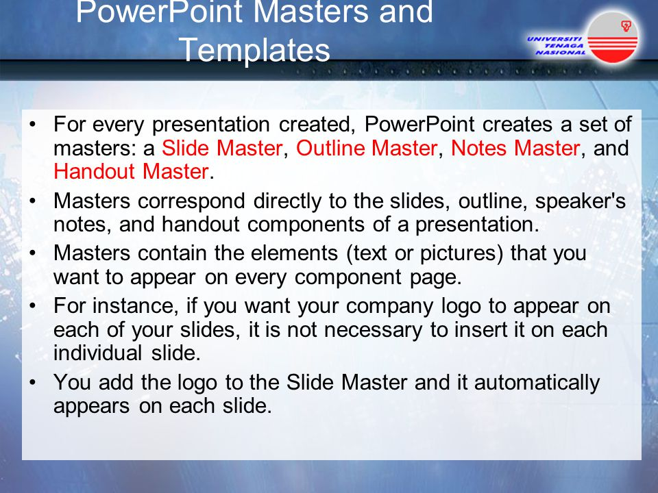 PowerPoint Masters and Templates