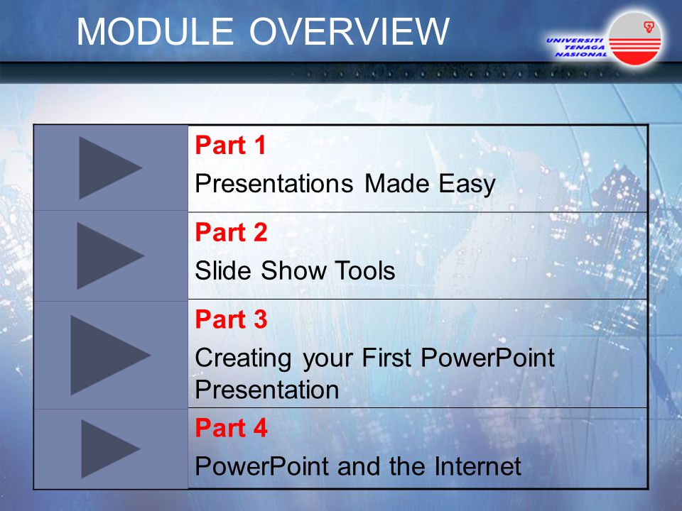 MODULE OVERVIEW Part 1 Presentations Made Easy Part 2 Slide Show Tools