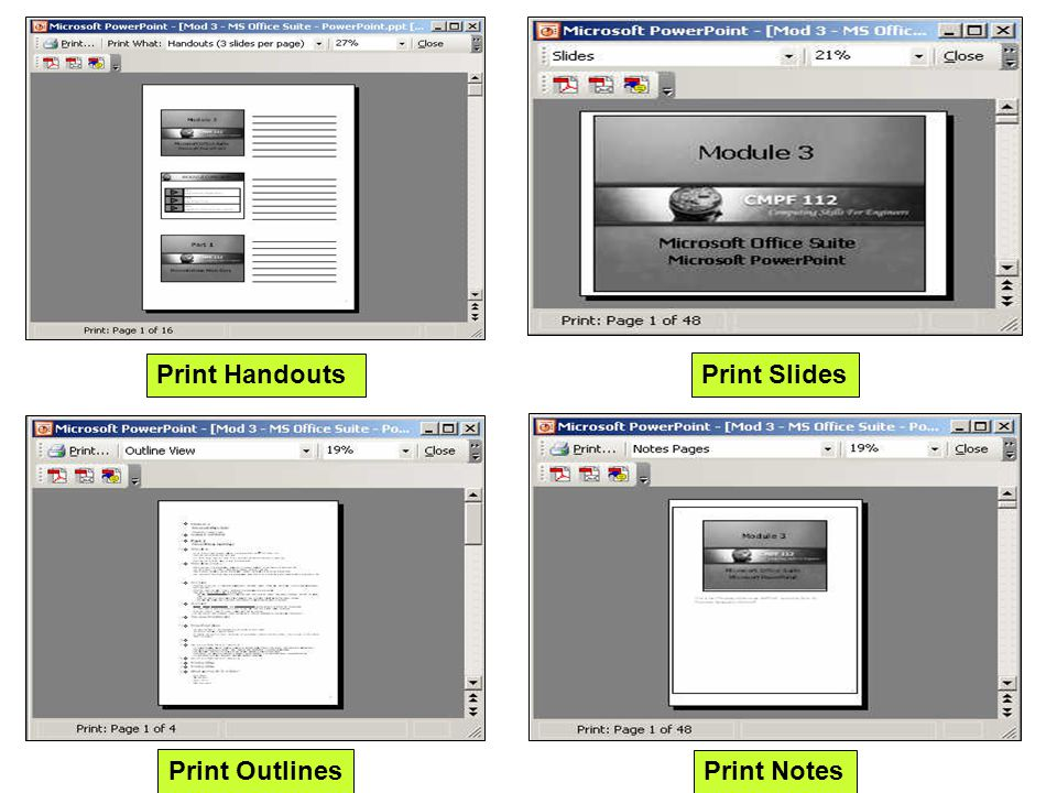 Print Handouts Print Slides Print Outlines Print Notes