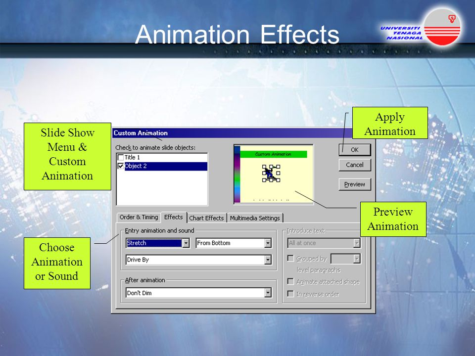Animation Effects Apply Animation Slide Show Menu & Custom Animation