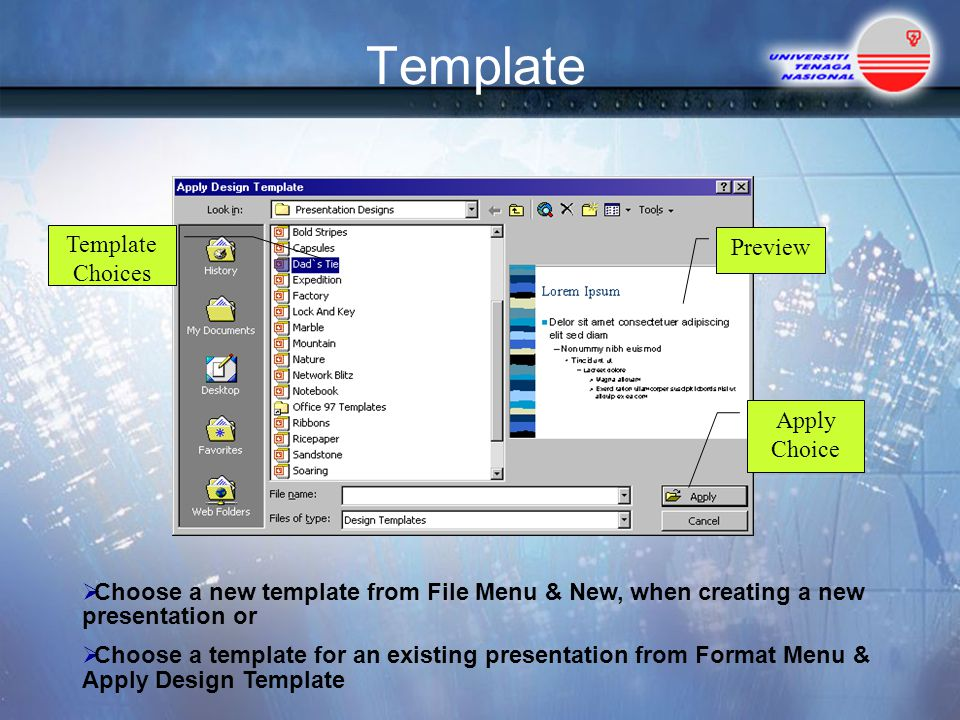 Apply ppt template to existing presentation bellacoola how to apply a powerpoint template to an existing presentation powerpoints templates toneelgroepblik Choice Image