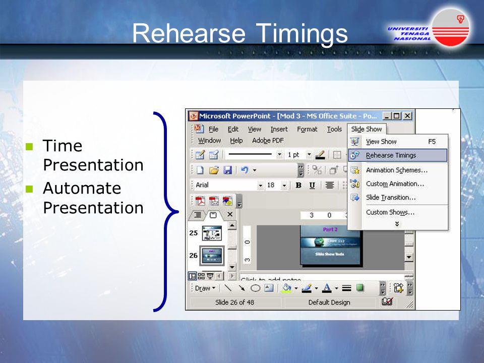 Rehearse Timings Time Presentation Automate Presentation