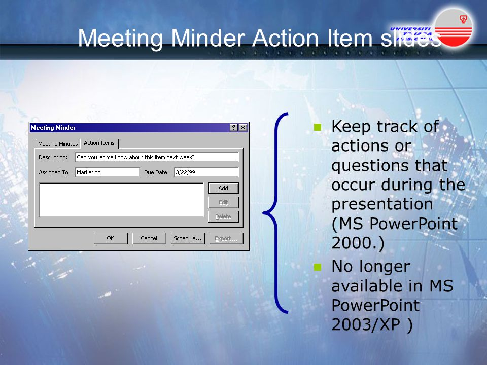 Meeting Minder Action Item slides