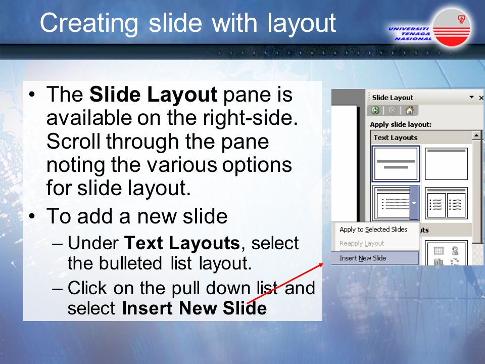 Creating slide with layout