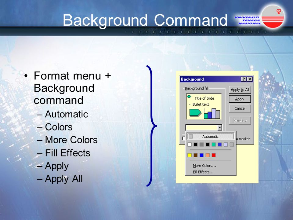 Background Command Format menu + Background command Automatic Colors