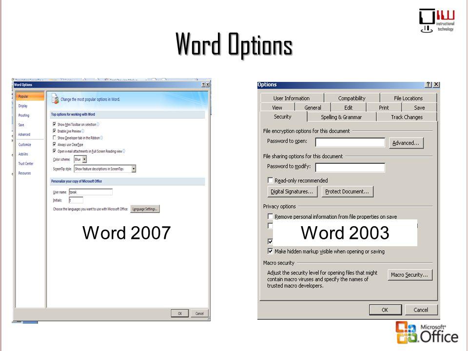Word Options Word 2007 Word 2003