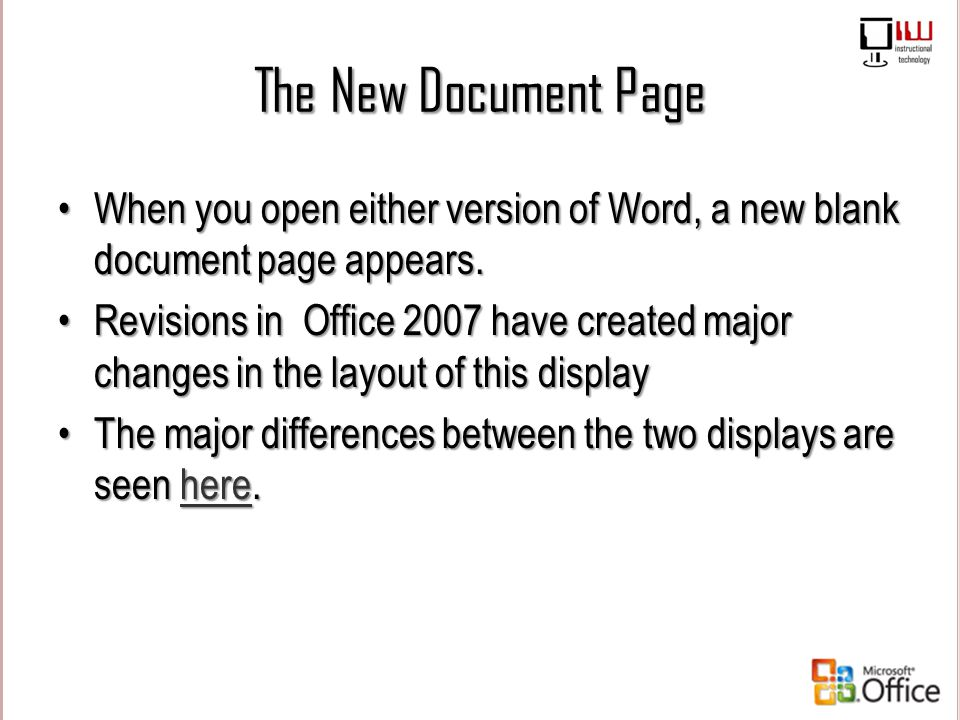 The New Document Page When you open either version of Word, a new blank document page appears.