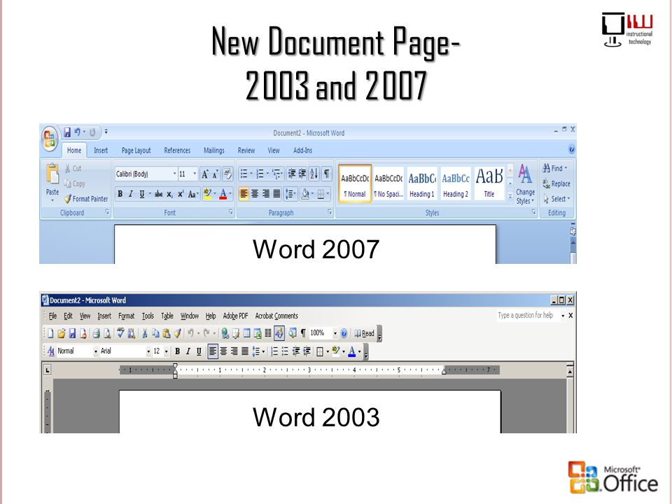 New Document Page- 2003 and 2007 Word 2007 Word 2003