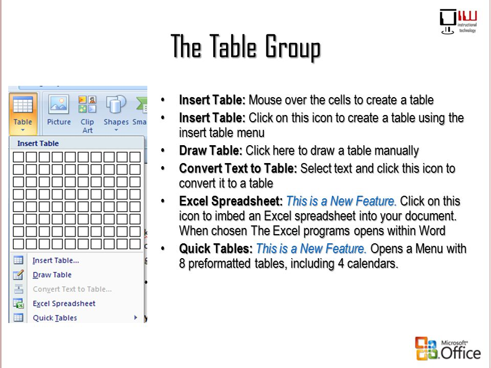 The Table Group Insert Table: Mouse over the cells to create a table