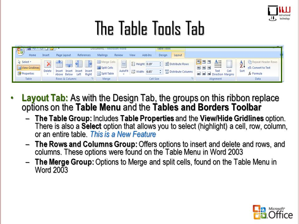 The Table Tools Tab