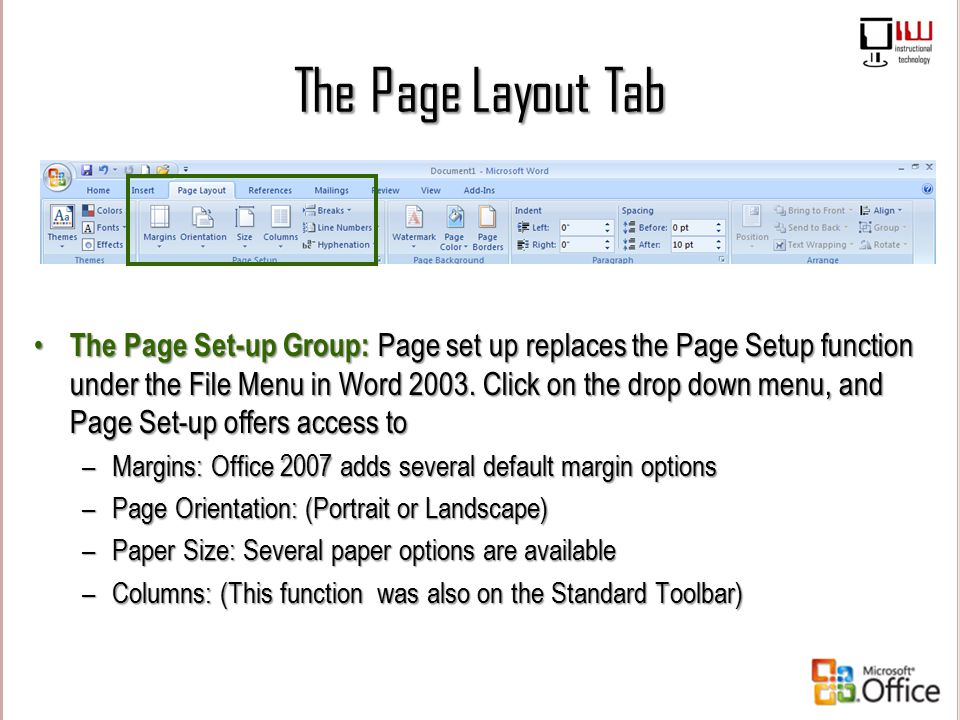The Page Layout Tab