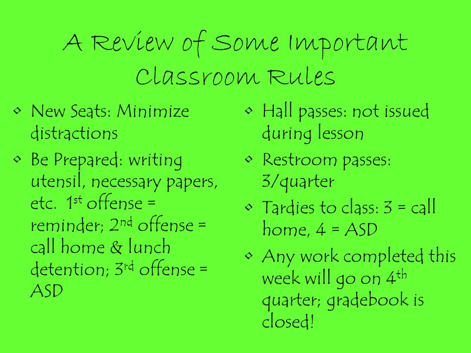 A Review of Some Important Classroom Rules