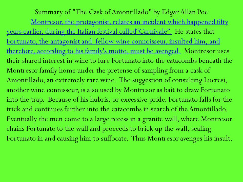 Summary of The Cask of Amontillado by Edgar Allan Poe