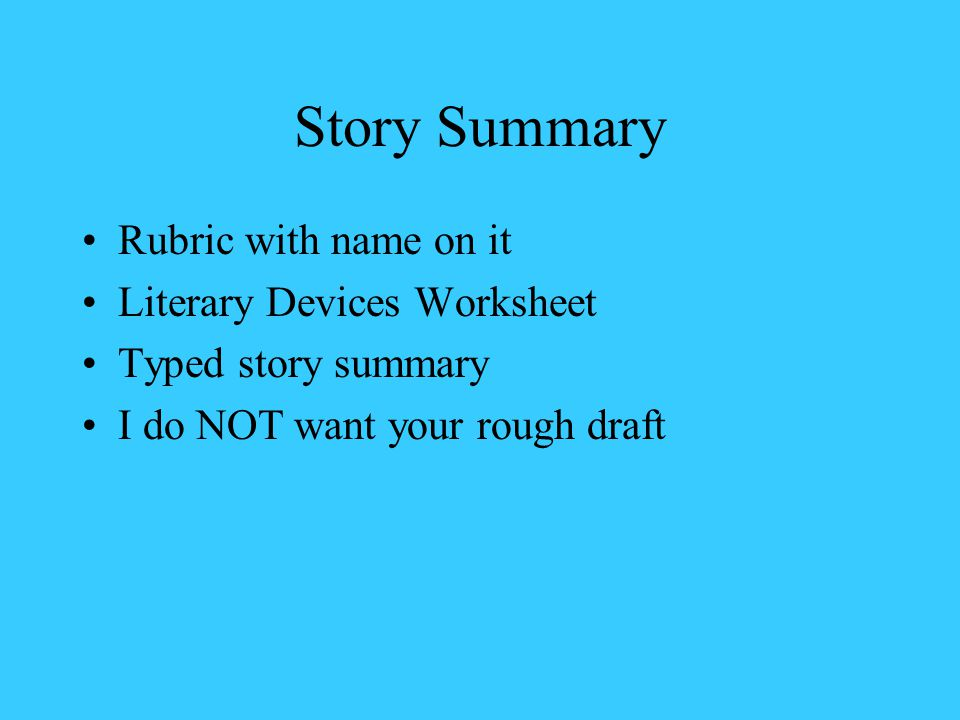Story Summary Rubric with name on it Literary Devices Worksheet
