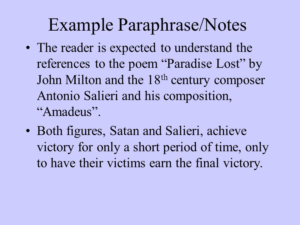Example Paraphrase/Notes