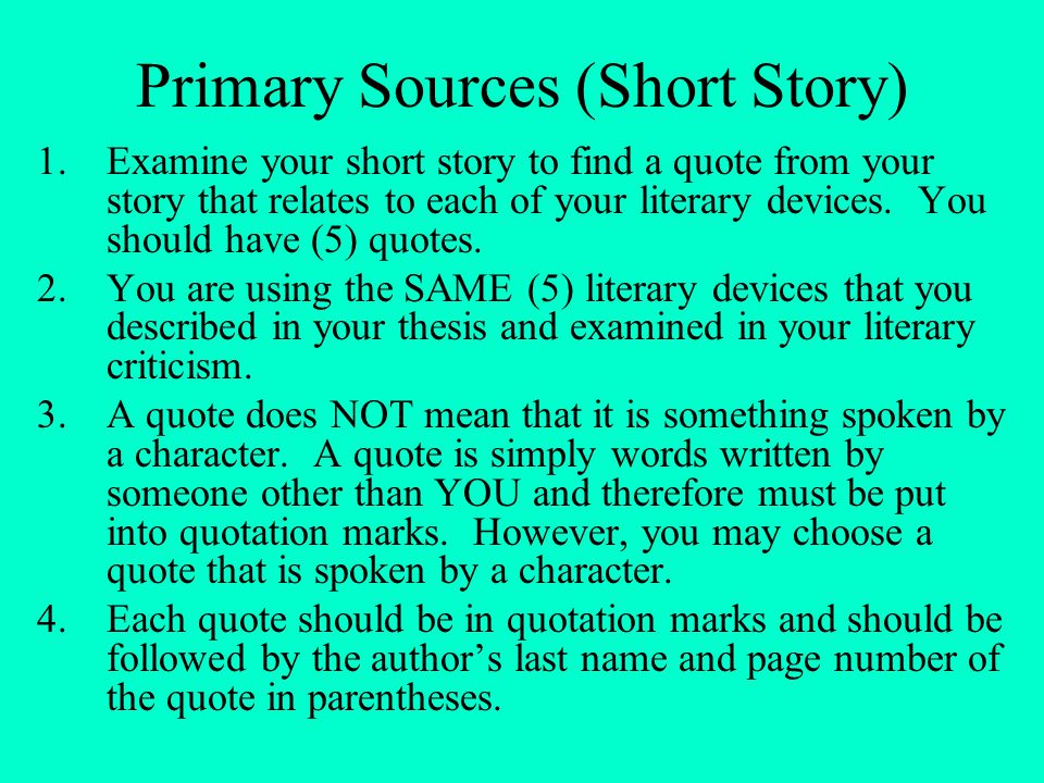 Primary Sources (Short Story)