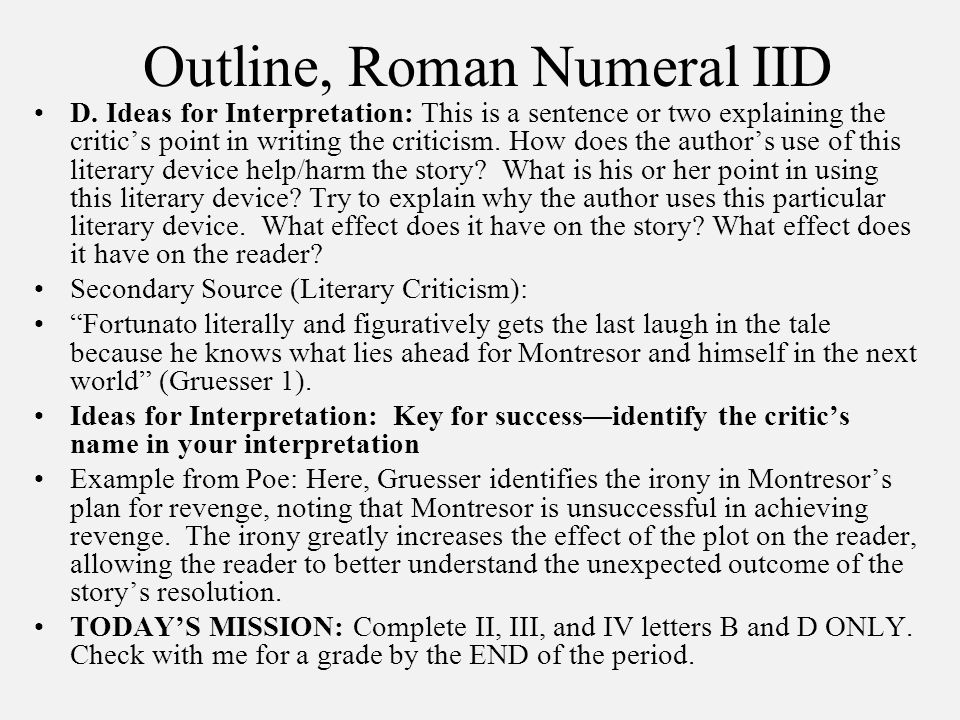 Outline, Roman Numeral IID