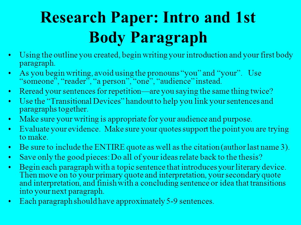 Writing an introduction paragraph research paper